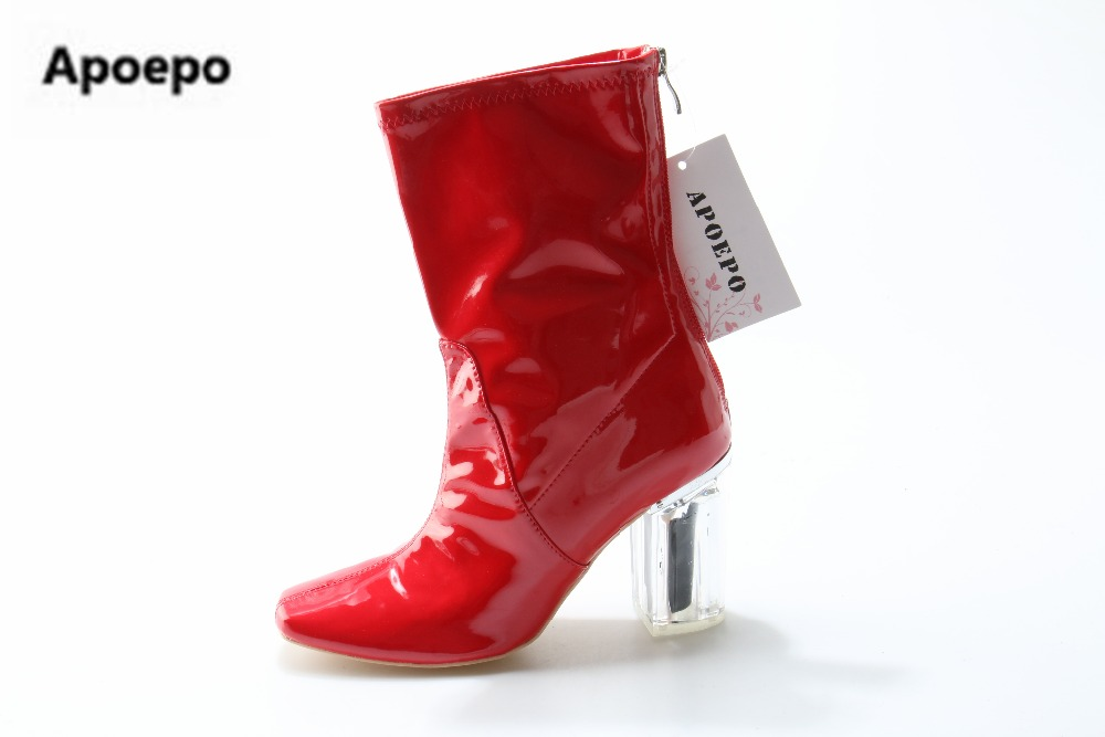 Apoepo brand red boots Transparent high heels boots women square toe mid-calf rainboots sexy ankle boots for women bottine femme