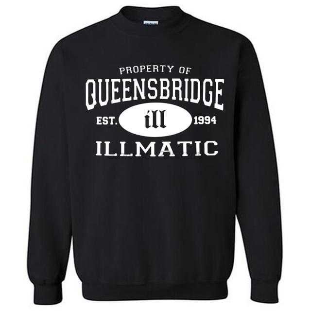 ILLMATIC / QUEENSBRIDGE NAS men sweatshirts HIP HOP ILL 100% Cotton hoodies drop shipping euro size
