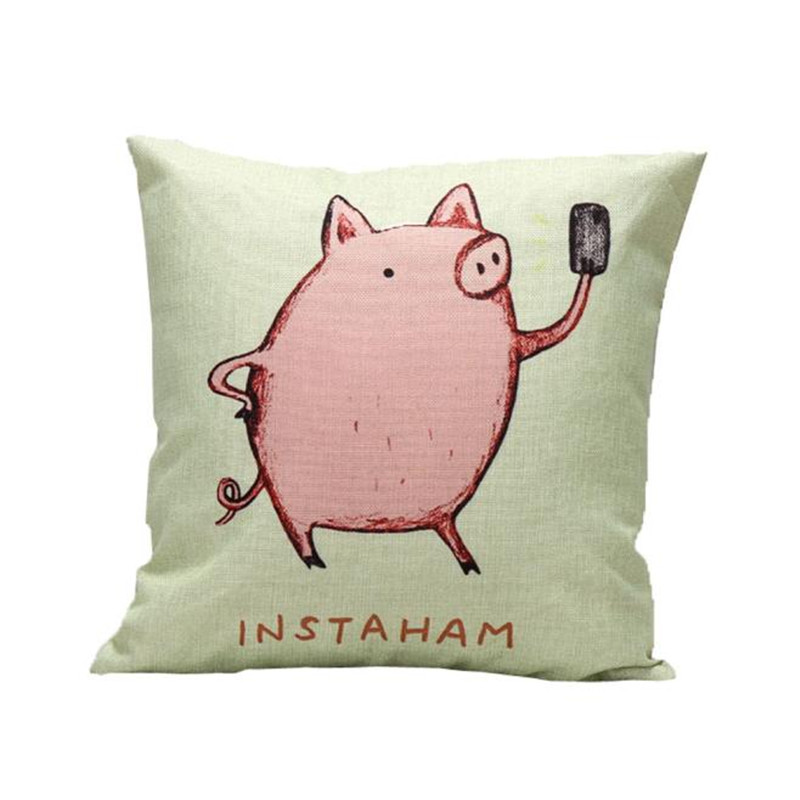 1PC Green color Cute Pig pillow cover case Cartoon animal throw pillow cushion case slip linen material on sale