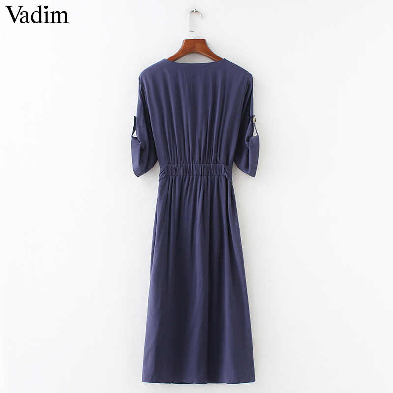 Vadim femmes élégant col en V solide robe mi-longue noeud papillon ceintures à manches courtes plissée décontracté chic robes vestidos QZ3651
