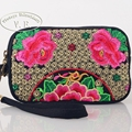 Vintage Embroidery Women Bag Clutch Ethnic Embroidered Floral Three Layer Zipper Phone Purse Long Wallet Small Coin Bag