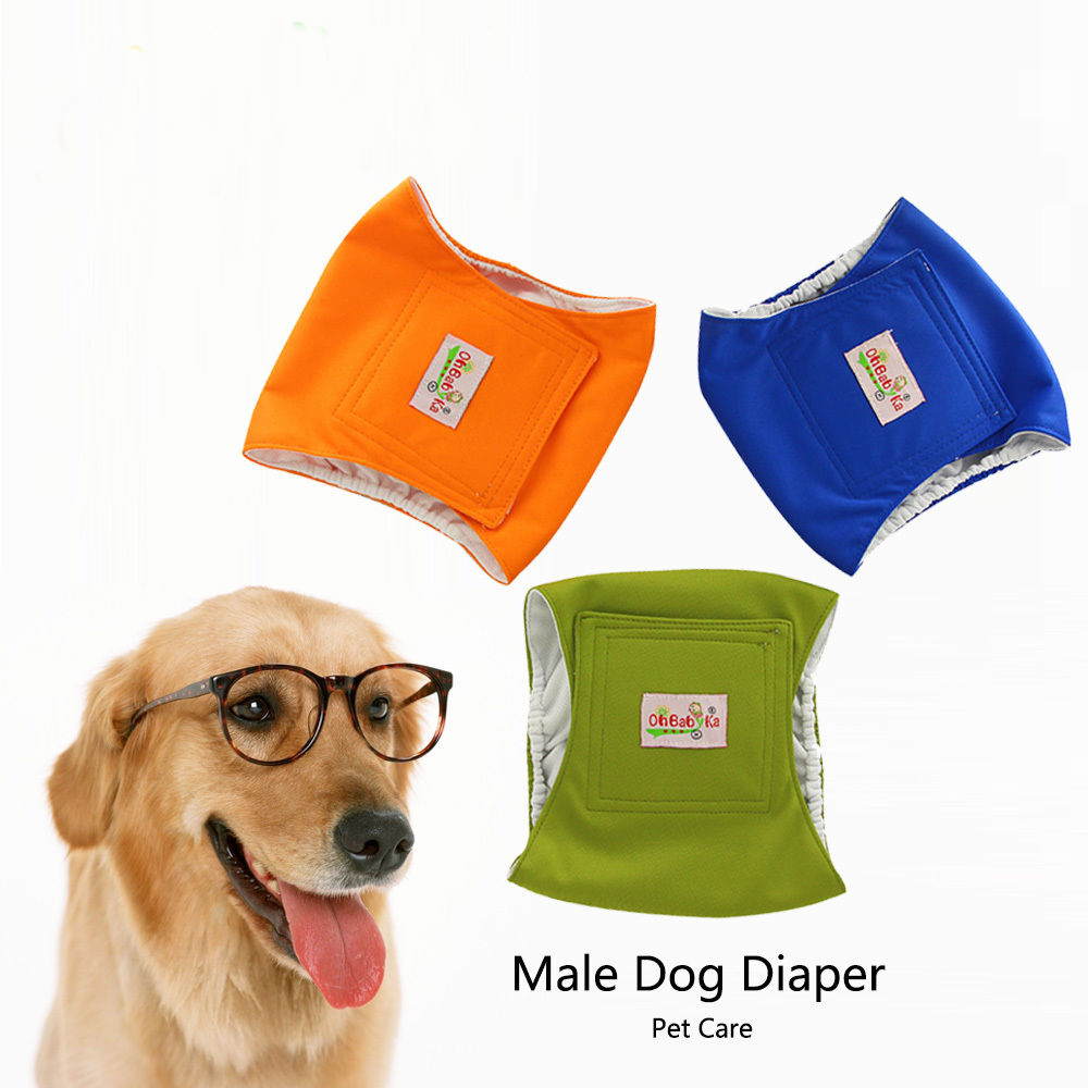 Ohbabyka Reusable Diapers Male Dog Physiological Pants Doggie Diaper Sanitary Cover Washable Dog Nappy Changing Pet Dog Pants