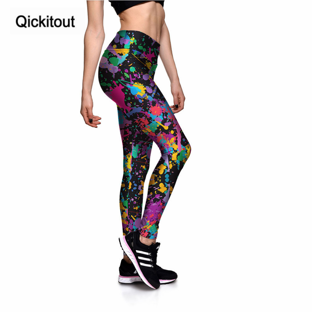 Image 2 - Qickitout Leggings Women's Sexy New Leggings Colourful oil paint spraying 3D Print Women High waist Pants Trousers Drop Shipping-in Leggings from Women's Clothing