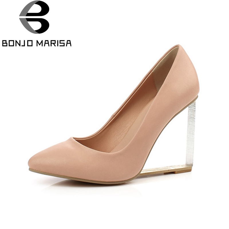 BONJOMARISA Crystal Wedge High Heel Pumps Genuine Leather Summer Shoes Pointed Toe White Red Black Apricot Party Wedding Shoes best selling european genuine leather super high heel wedge slippers women floral wedge pumps summer shoes 4 color ml2063