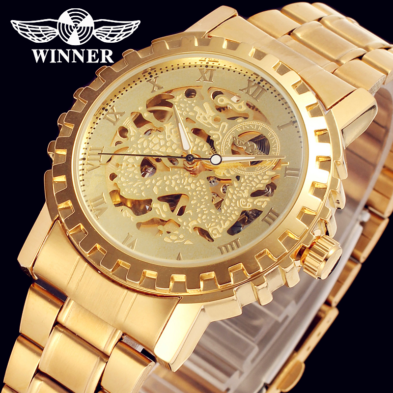 Fashion WINNER Men Luxury Brand Gold Skeleton Stainless Steel Watch Automatic Mechanical Wristwatches Gift Box Relogio Releges hot sale winner watches men automtic mechanical watch stainless steel gold case men s business wristwatches relogio releges