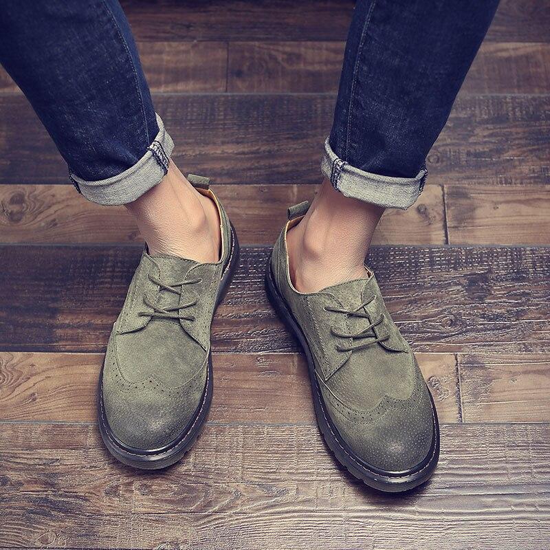 Retro Shoes Pelle Wedding Brogue gialle Dress Grigio Scarpe Luxury scuro Sera Formale verde scarpe Soft Brand Vera Scarpe Richelieu Oxfords Men Merkmak qY0FwIx