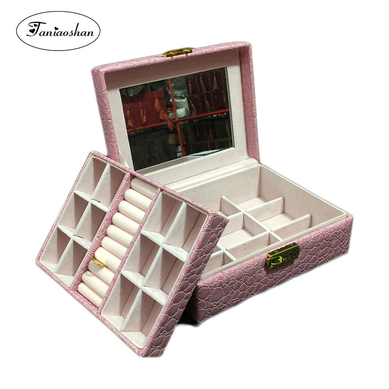 PU Leather Jewelry Box For Girl High Quality Crocodile Pattern Gift Box Double Layer Storage Casket With Mirror Christmas Gift