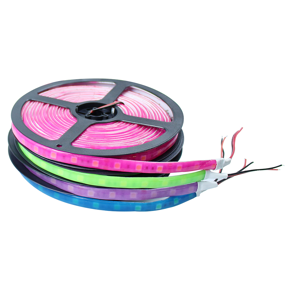 New Waterproof Orange Blue Pink Purple Green Color 5050 SMD Glue Neon LED strip flexible light 60LED/m 5m/lot outdoor led tape