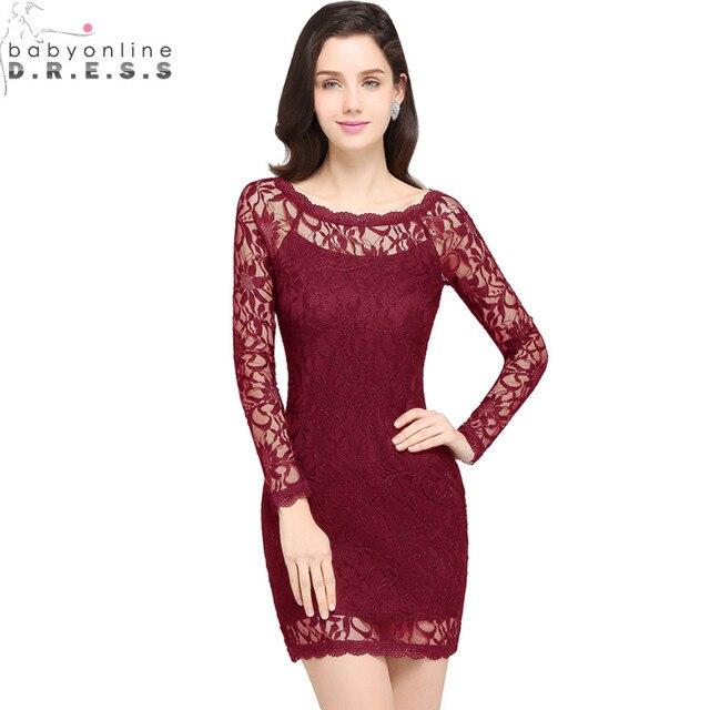 Vestido de Festa Curto Sexy pura manga larga Borgoña corto vestidos de  fiesta barato apliques encaje 70bc66c18ba8