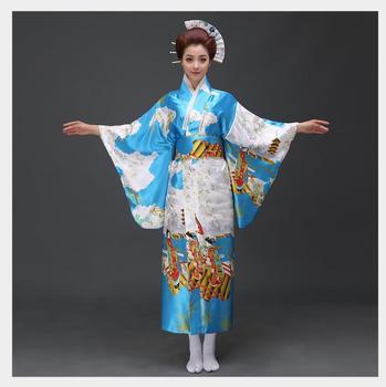 4e3e84721 Vestido de Kimono de seda tradicional de moda japonesa de señora dorada  Yukata con vestido de noche ...