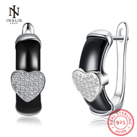 INALIS 925 Sterling Silver Heart Earrings White Color Black Color Ceramics Earrings For Women Girl Jewelry