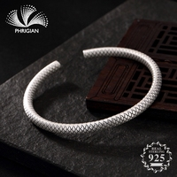 S990 Fine Jewelry Bangle Solid sterling silver women open adjustable vintage retro S925 925 luxury fishscale Simple round