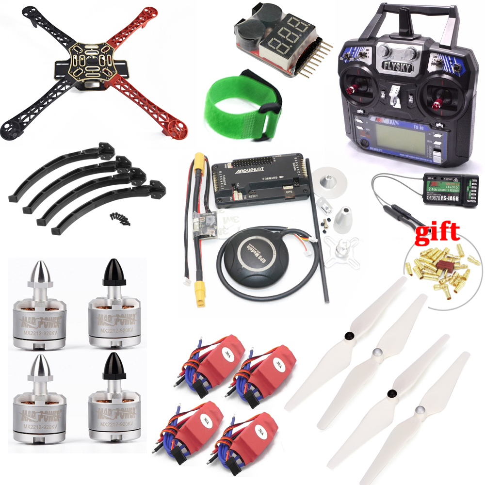 F450 450mm quadcopter quadro kit com apm2.8 placa de controlador 7 m gps 30a simonk esc 2212 920kv flysky FS-i6 tx para rc quadcopter
