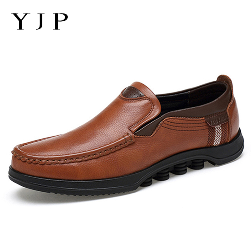 YJP Large Size Cow Leather Summer Shoes Flats Men Moccasins Slip On Loafers Breathable Soft Sole Spring Casual Driving Men Shoes slip on men s shoes loafers casual driving shoes men leather mens flats sole breathable boat shoes male moccasins zapatos hombre