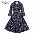 Nemidor High Quality Women Dot Vintage Turn-down Collar Swing Dress Casual Plus Size 3/4 Sleeve Party Rockabilly Dress