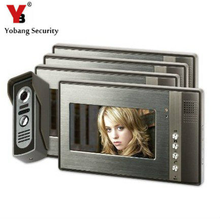 YobangSecurity 7 inch Color LCD Video Door Phone Doorbell Home Entry Intercom System 4 Monitor 1 Metal Camera Night Vision hot sale tft monitor lcd color 7 inch video door phone doorbell home security door intercom with night vision