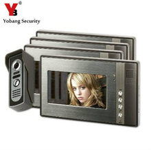 YobangSecurity 7″ inch Color LCD Video Door Phone Doorbell Home Entry Intercom System 4 Monitor 1 Metal Camera Night Vision