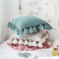 Home Decorative Knitted Cushion Cover North Europe Sofa Pillow Cover Car Seat Cushion Cover With Lantern Ball Lace Fringe