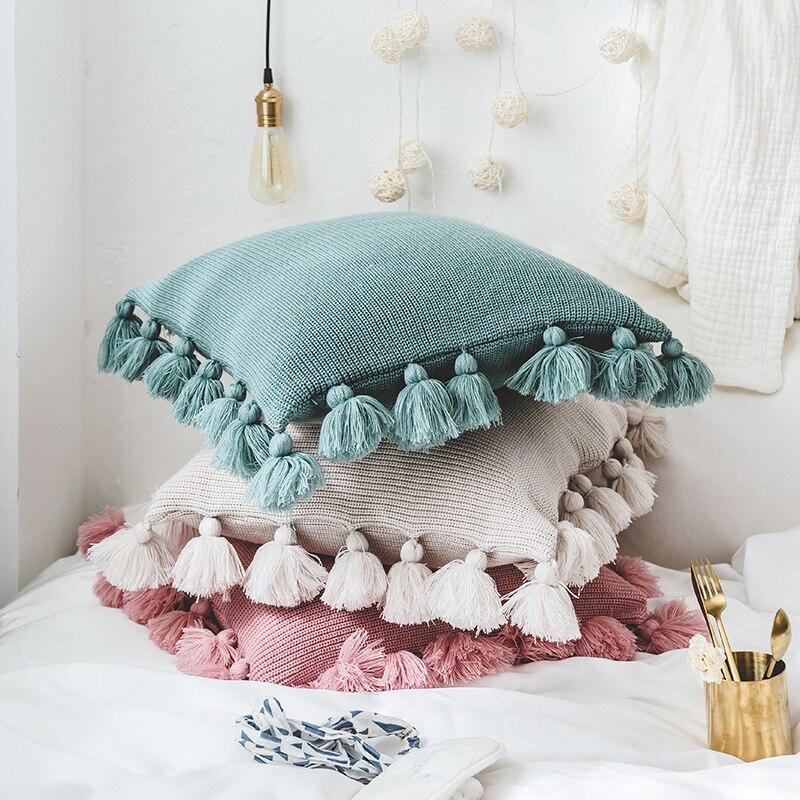 Housse de coussin tricotée décorative pour la maison Europe du nord housse de coussin de siège de voiture avec frange de dentelle de boule de lanterne