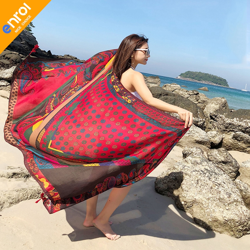Large Colorful Beach Towel Yoga Mat Chiffon Table Cloth Flowers Summer Breathable Adult Sunbath Beach Towel serviette de plage Стол