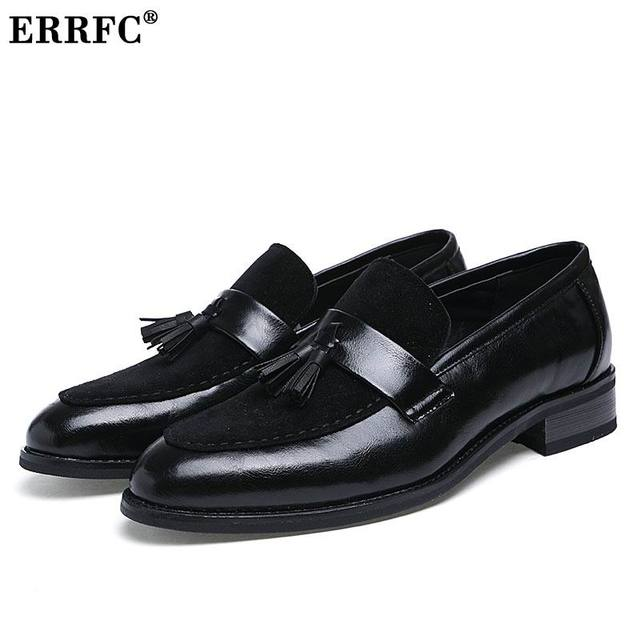 51fecca282d264 ERRFC New Arrival Men Brown Boat Shoes Fashion Pointed Toe Suede Tassel  Business Leisure Leather Shoes Slip On Loafer Black