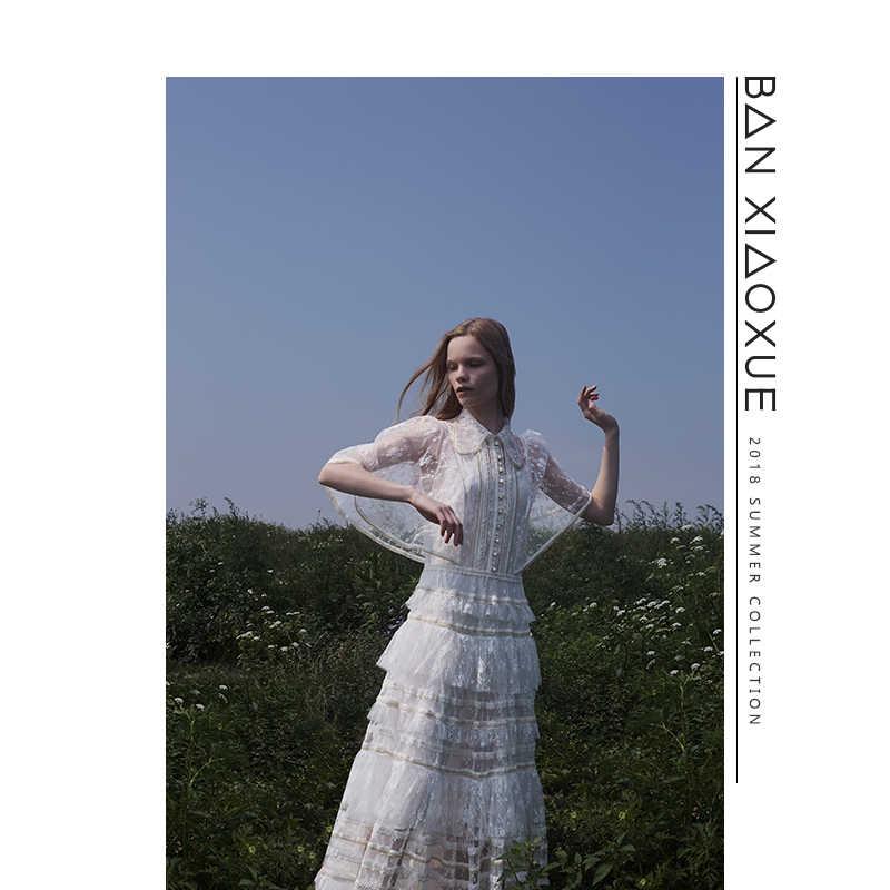 Высококачественное дизайнерское платье для подиума 2018 женское летнее Элегантное синее Сетчатое кружевное вышивка, Макси-платье Плиссированное богемное пляжное платье