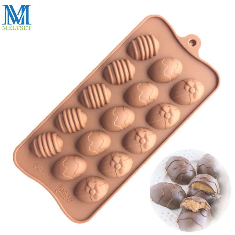 Meltset 15 Holes Easter Egg Silicone Molds DIY Chocolate Candy Mold Cake Decoration Jelly Making Mould ...