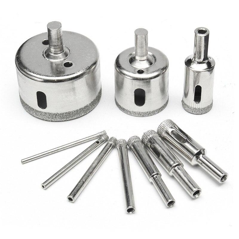 DANIU Brand New 10pcs 3-50mm Diamond Drill Bits Set Glass Marble Granite Hole Saw Cutter Tool diamond tools for granite