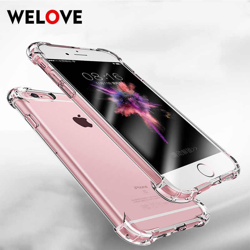 Moda şeffaf şeffaf telefon iPhone için kılıf 7 durumda darbeye dayanıklı 360 derece silikon kapak iPhone 5 5s SE 6s 6 7 8 artı X