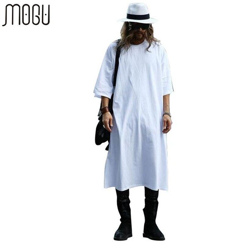 MOGU удлиненные футболки для Для мужчин с круглым вырезом удлиненные линии Футболки однотонные белые Цвет футболка Для мужчин большой Размер...