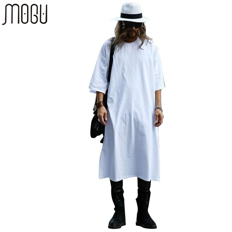 MOGU Extra Long Tee Shirts För män O-Neck Extra Long Line Tops T-shirt Solid White Color T-shirt Män Stor Stor Män T-shirts