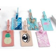 Travel Accessories Luggage Tag Cartoon Animal Flamingo PU Leather Suitcase ID Address Portable Label Holder Baggage Boarding Tag