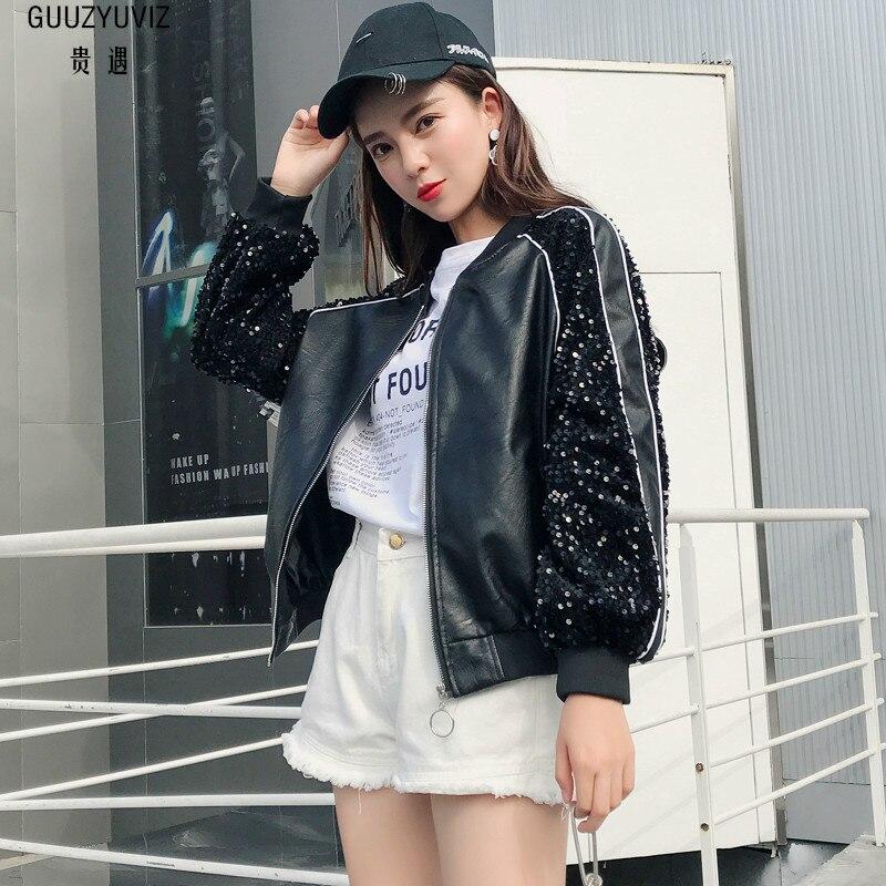 GUUZYUVIZ Ami Casual Sequin Pu En Cuir Bombardier Veste Femmes 2018 Automne Hiver Noir Plus Taille Cool Zipper Femmes Manteau