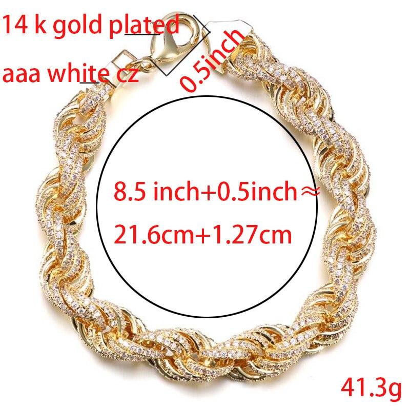 VANAXIN incrusté zircon cubique Hip Hop singapour torsadé hommes Bracelets or/argent couleur corde chaîne mode bijoux mâle cadeau - 4