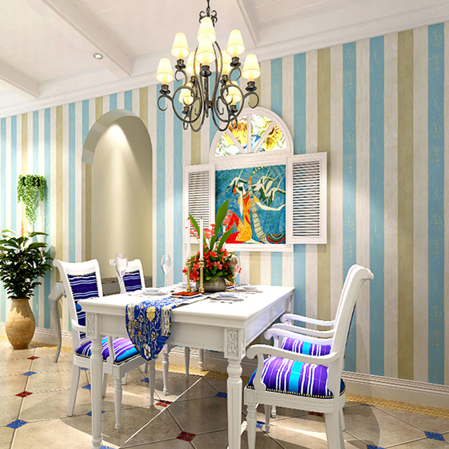 Mediterranen Stil Blau Holzmaserung Gestreifte Tapete Für Schlafzimmer  Wände Rollen Wohnzimmer Sofa Vlies Gedruckt Tapete Wandbild