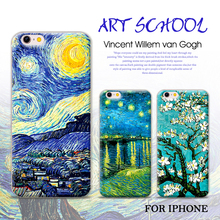 NganSek Vincent Van Gogh Cases For apple iphone 7plus 7 6plus 6 6s 5s 5 Oil Painting Sunflower Starry Sky Night Van Gogh Case