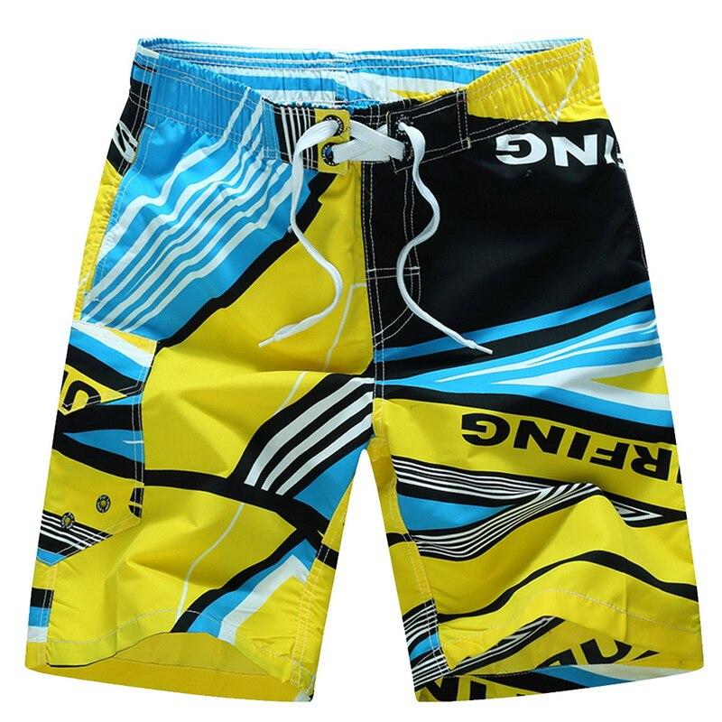 Women Swim Trunks Purple Blue Butterfly Yellow Background Beach Board Shorts