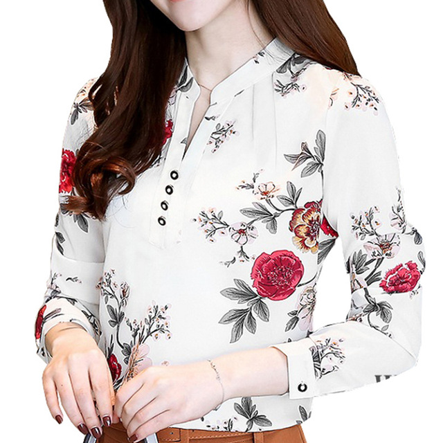 cb0bf0ee80ed Fashion Women Blouse Shirts 2018 New Chiffon Print Plus Size Office Long  Sleeve Tops Female Clothing