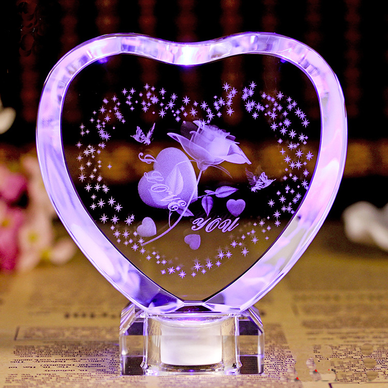 Crystal Laser Engraved Novelty Led Table Lamps I Love You Happy Birthday Gifts Multi Color Led Night Light For Decoration Home