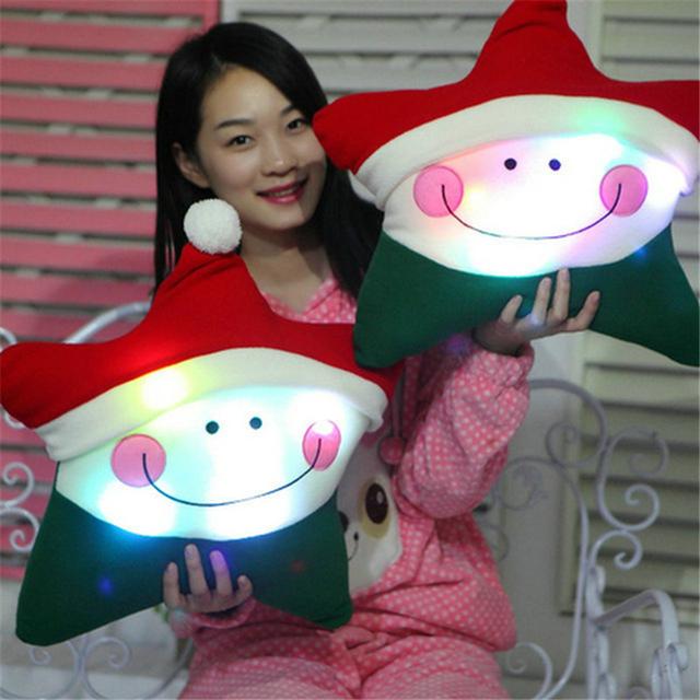 Colorido Intermitente Almohada Estrella de Navidad Sombrero Cojín Estrella Kid Juguetes de Peluche de Regalo de Vacaciones de Navidad