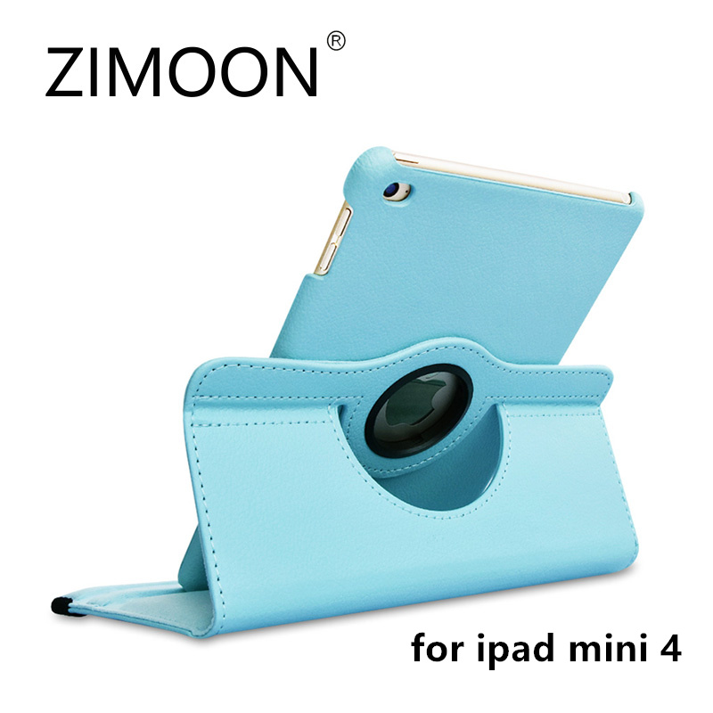 Zimoon Case For Apple iPad mini 4 Magnetic Auto Wake Up Sleep Flip Litchi Leather Cover With Smart Stand Holder business flip litchi leather case smart stand holder for apple ipad2 3 4 magnetic auto wake up sleep cover black