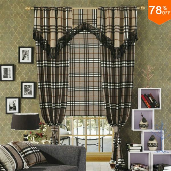 Geometrical Aesthetic Feeling Painting Cell Grid Pattern European Drawing Drapery Fashion Quality Luxury Drapes Finished