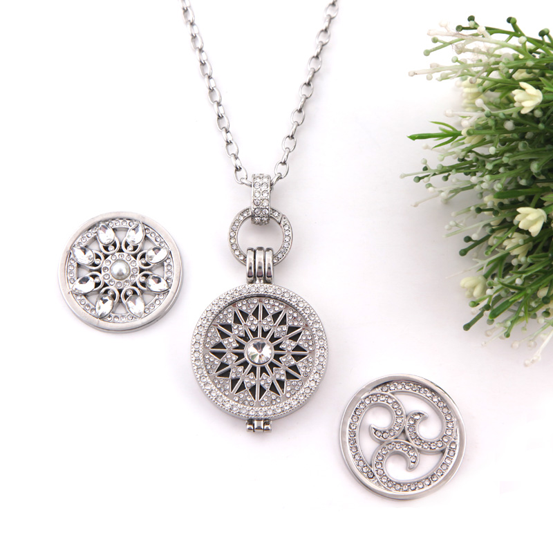 SANSHOOR Jewelry My Sparking Flower Pendant Necklace Set With 1 Set Crystal Coin Pendant And 2pcs Extra Coin For Gift