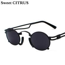 4e91fbc62 الحلو الحمضيات خمر جولة المعادن الشرير النظارات الشمسية المرأة العلامة  التجارية مصمم ريترو Steampunk من الرجال