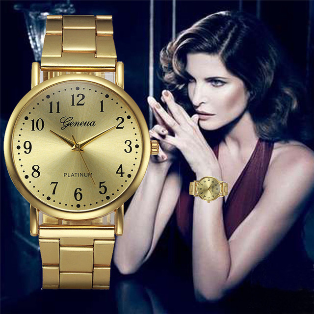 Women's watches Crystal Stainless Steel Gold Analog Quartz Bracelet Watch Reloje