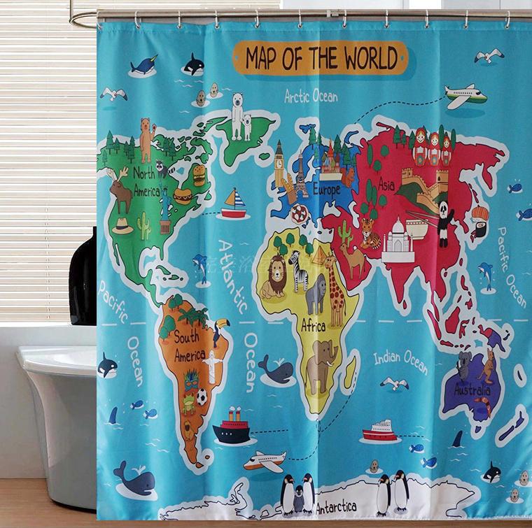 Cartoon animal world map curtains HD digital printing polyester ...