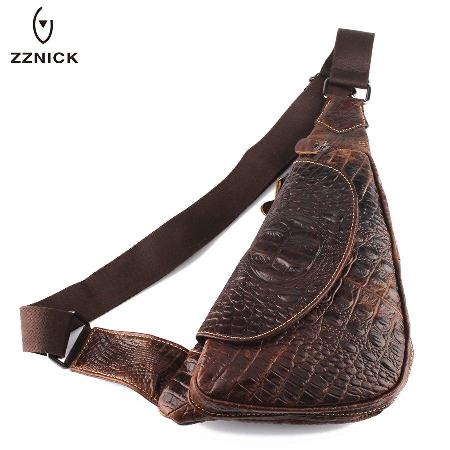 Bagaj ve Çantalar'ten Bel Paketleri'de ZZNICK Yeni 2018 Hakiki Deri Rahat Inek Derisi Göğüs paket çantası Timsah Erkekler Seyahat Çapraz Vücut cep telefonu çantası erkek postacı çantası'da  Grup 1