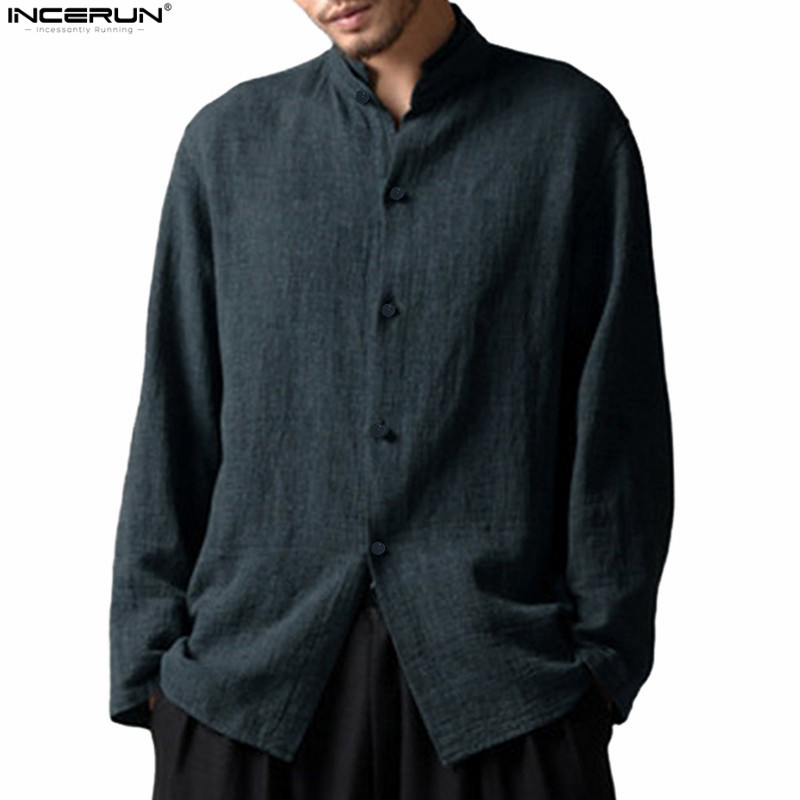 Chinese Style Stand Collar Long Sleeve Linen Shirt Men Casual Soft Cotton Linen Shirts Men Vintage Tee Tops camisa masculina 5XL