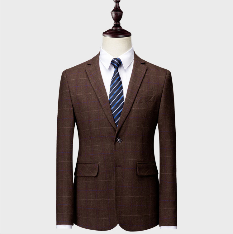 Jackets+ Pant+ Vest)2019 Custom Slim Fit  Suits Single Breasted Plaid Blazer  Size Green Khaki Blue Dress Weddingume Homme Terno