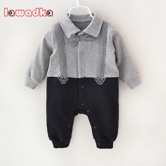 Macacão de Bebê recém-nascido Roupas de Algodão Ternos Macacão Infantil Outwear Meninos Cavalheiro Macacão Roupas